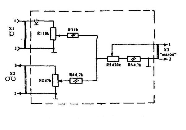 Схема пассивного микшера