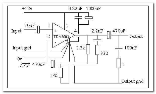 Электросхема усилителя на микросхеме TDA2003