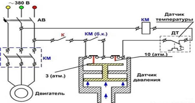 Схема подсоединения прессостата к сети 380 В