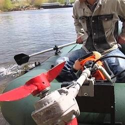 Переделка триммера в лодочный мотор